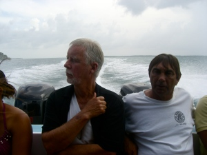 my dad on the boat to caye caulker